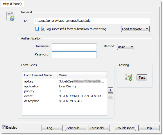 EventSentry HTTP Action for Prowl