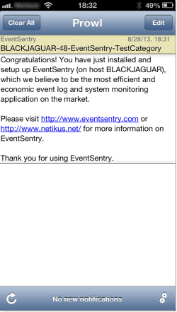 Mobile Alert on iPhone 5 with Prowl