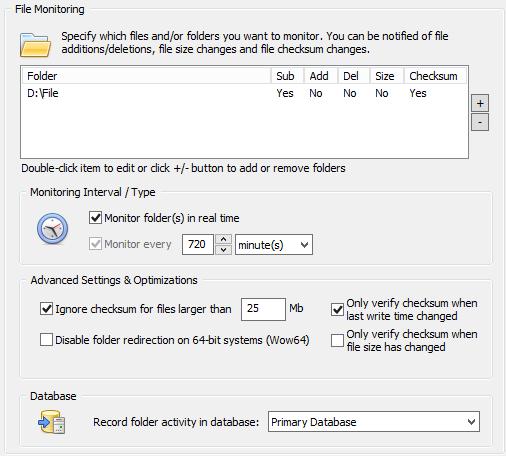 File Checksum Monitoring Settings