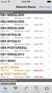 EventSentry Mobile Network Status