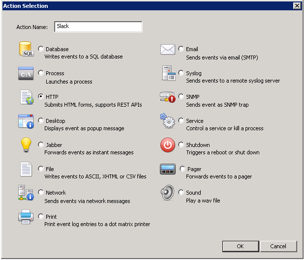 EventSentry Action Dialog