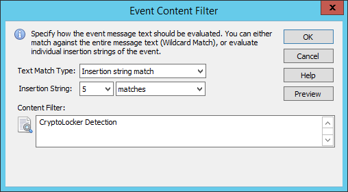 Event Log Content Filter