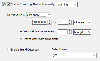 Specifying the alert limit for the performance counter