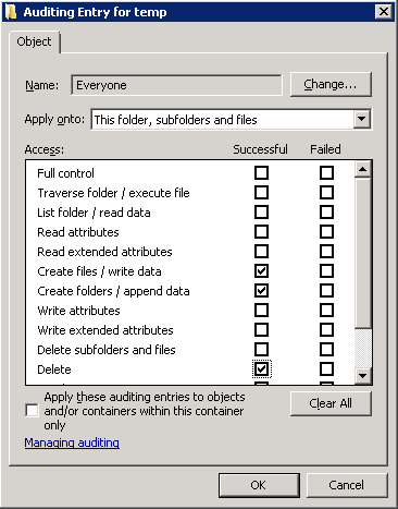 Windows Folder Auditing