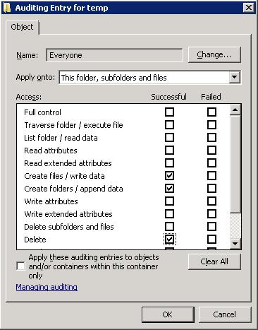 Windows Folder Auditing