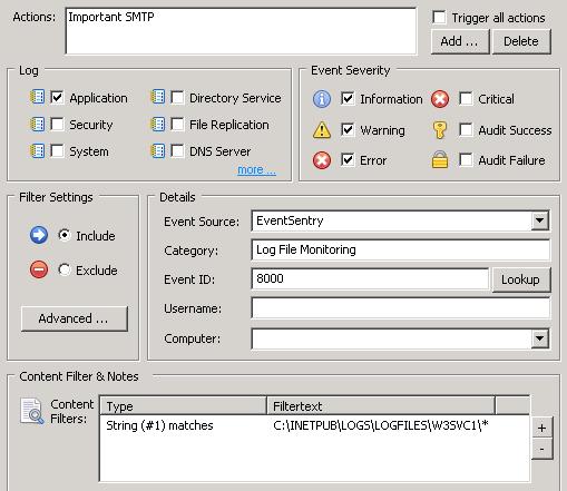 Event Log Filter for Log File Alert