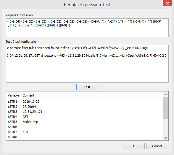 Regex preview & test utility in management console