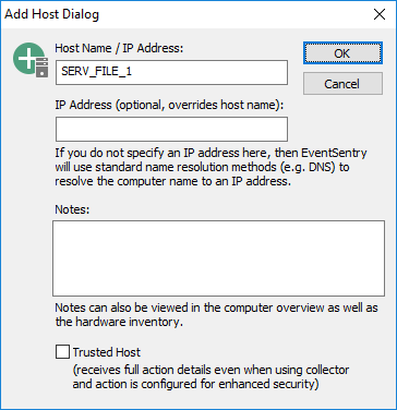Working with EventSentry > Computer Groups > Adding Hosts