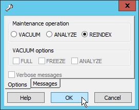 pgAdmin III REINDEX option
